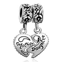 Wholesale Dangle Drop Beads - Valentines Day jewelry metal mother daughter heart set drop European style dangle bead infant lucky charms Fits Pandora charm bracelet