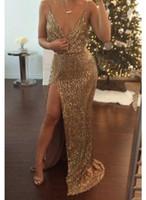 Wholesale Spaghetti Strap Nude Sequin Dress - 2016 Bling bling Gold Spaghetti Straps Sequins Evening Dresses Split Mermaid Floor Length Party Bridesmaid Dresses