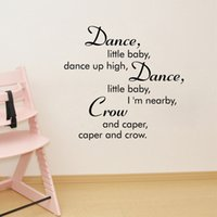 Wholesale Dance Words Wall Decals - Dance little baby Wall Sticker PVC Wall Art Decal Mural Saying wall decoration murals words art graphics