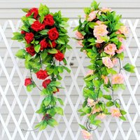 Hängende Dekorative Reben Kaufen -Neue künstliche Seide Rose Blume Rebe hängende Girlande Haus Hochzeit Dekorationen Rose Vine Girlande Home Wall Party Dekorative Blumen