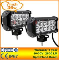 12 kapalı yol lambası toptan satış-2 adet 7 inç 36 W Cree LED İş Işık Bar Lambası Traktör Tekne Off-Road 4WD 4x4 12 v 24 v Kamyon SUV ATV Nokta Taşkın Süper Parlak