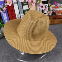 Wholesale Child Boy Model Beach - Straw hat Beach shading adult kids hats wholesale Fashion Stingy Brim hats Simple solid color hats Parent-child models
