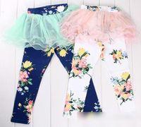 Wholesale Girls Leggings Flowers - New Arrival 2015 Autumn Korean Girls Clothes Tutu Skirt Leggings Children Clothing Elastic Cotton Flowers Tights Kids Pink Blue Long Pants