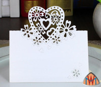 Wholesale flower places - 100pcs Laser Cut Hollow Heart Flower Paper Table Card Number Name Card For Party Wedding Place Card Decorate