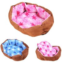 Houses outside dog kennels - Pet Nest Puppy Soft Bed Fleece Warm House Kennel Dogs Plush Mat Coffee Color Outside Lovely Pink Blue Insiade Cotton Pets Bed