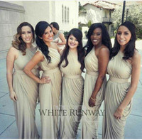 Wholesale image dress new style for sale - New Fashion Custom Made One Shoulder Cheap Bridesmaid Dresses Backless Aso Ebi Style Sheath Pleats Plus Size Bridesmaid Gowns Wedding Party