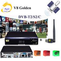 dvb s2 receptor de satélite usb venda por atacado-DVB DVB-S2 DVB-T2 DVB-C DVB-C Suporte Powervu IPTV Cccam Cline + 1 usb wi-fi DVB-T2 / S2 / C Cabo Receptor de Satélite com USB WIFI