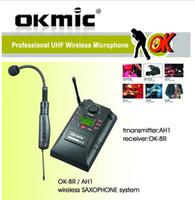 sistem enstrümanları toptan satış-Sıcak OKMIC Saksafon AH1 MJ-8 / MJ-9 Profesyonel UHF PLL enstrüman Kablosuz Sistemi Mikrofon OK-8R Keman Saxe kablosuz mikrofon ses