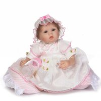 Atacado- 17 Inch 42cm Lifelike Soft Silicone Reborn Baby Doll Lovely Realistic Looking Baby Girl Newborn Toddler Xmas Gift Princess Dress