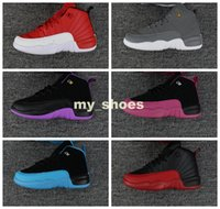 Wholesale Red Wolf Fishing - Retro 12s sneakers kids Shoes Girls Boys Violet Wolf Grey Blue Retro 12 7 XII OVO Black White Sports trainers chirdern size 28-35