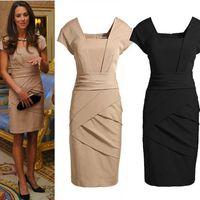 Wholesale Dress For Celebs - Brand designer summer work dress for women 2015 Square Neck pinup Pencil Dress Plunge Bodycon formal Celeb Party Pencil Shift Dress 689