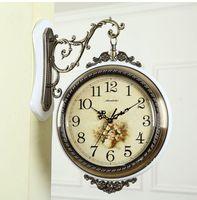 Wholesale Double Wall Clock - Free shipping Wood-metal double face watch corridor wall clock European style wall clock two face large quartz clock
