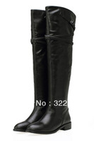 Wholesale Cheap Sexy Heels Boots - Free Shipping Women New arrival Fashion Design Warm Winter Martin Over-Knee Buckles Belt Square Heel Sexy Black Ladies Boots Cheap Girls Boo