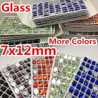 Wholesale Orange Sew Stones - Wholesale-More Colors 432pcs 7x12mm Teardrop Sew On Stone 2 Holes Flatback Droplet Sewing Glass Crystal Orange,Aquamarine,Siam AB