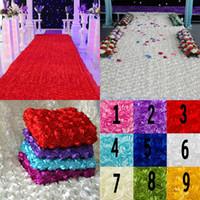 suministros de boda al por mayor-Fondo de decoraciones de mesa de boda Favores de boda 3D Alfombra de pétalos de rosa Pasillo Pasillo para suministros de decoración de banquetes de boda 9 colores