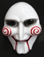 Wholesale White Horror Film Masks - Electric Saw Mask Halloween Cosplay Party Saw Horror Movie Saw Billy Mask Jigsaw Puppet Adam Creepy Scary Free Shipping TY1537