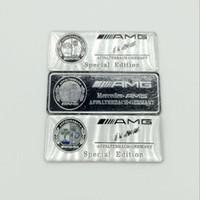 Wholesale mercedes amg emblems - Aluminum alloy Sticker Car Sport Sticker Label Emblem Badge car styling for AMG Mercedes [99x18mm 80x30mm] High Quality