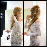 Wholesale Nude Long Sleeve Sheer Cocktail - New Arrival 2015 Off The Shoulder White Lace and Nude Beauty Backless Short Cocktail Dresses with Long Sleeve Prom Dresses for Party