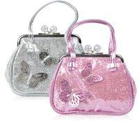 kızlar kelebek çanta toptan satış-Kızlar Mini Çanta Pembe Gümüş Renkler Shining PU Deri çanta ile 3D kelebek çocuk çantaları kız çantası