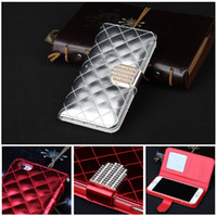 Wholesale Girl Iphone 4s Wallet - Girl For iphone 6 plus Cases Lady Diamond lattice Wallet Stand Flip case Cover For iphone 5s 4s s5 galaxy note 4 note 4
