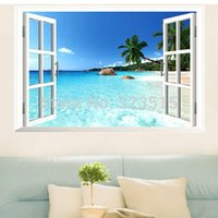 Wholesale Scenery Wall Sticker - Hot Sales Large Removable Beach Sea 3D Window View Scenery Wall Sticker Decor DecalFree Shipping