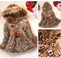 Wholesale leopard jackets kids - 2014 Winter Baby Girls Kids Faux Fur Leopard Hoodie Coat Clothes Jacket Clothes Free shipping