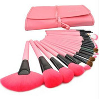 conjunto de escova de maquiagem 24 rosa venda por atacado-Profissional 24 pcs Pincéis de Maquiagem Set Rosa Rosa Cosméticos Eyeshadow Brushes Frete Grátis
