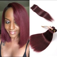 99J Red peruano Straight extensão do cabelo humano 3 Bundles With Closure Dark Wine Red Color Rigor Borgonha peruana virgem com encerramento