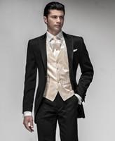 Wholesale Custom Made Peak Lapel One Button Black Groom Tuxedos Suit Men s suits Jacket Pants Tie Vest
