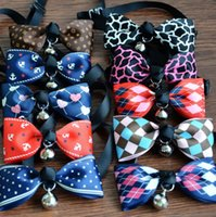 Wholesale Black Dog Tie - Pet Dog Neck Tie Cat Dogs Bow Ties Bells Headdress Adjustable Collars Leashes Apparel Christmas Decorations Ornaments Dog 21 Colors J4834