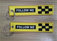 I piloti di linea mi seguono Easy Use Key Chain Bag Tag Zipper Pull Woven Embroidery Keychain 13 x 2.8cm 100pcs lot