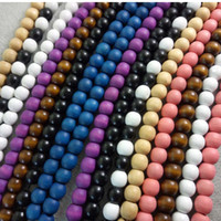 Wholesale wholesale wood bead necklaces - DIY 8mm Hip-Hop Fashion Good Wood Round Grass Tree Bead Chains for Necklace