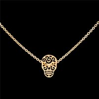 Wholesale Sugar Skull Charms - Wholesale 10Pcs lot 2017 New Promotion Stainless Steel Jewelry Pendant Mexican Sugar Skull Gold Chains Choker Necklaces Easter Jewellery