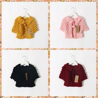 Wholesale Kids Crochet Jackets - Kids Girls Knitting Batwing Sleeve Cardigans Sweaters Princess Ruffles Crochet Jackets Pink Blue Yellow Red Color Sweater Outwears