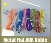 Wholesale Noodle Cable Iphone 5s - DC3.5MM Silver metal noodle Audio line 3.5mm Male to Male Stereo Aux Cable Extended flat cord for iphone 4s 5 5s 6 6 plus Samsung headphone