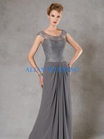 Wholesale Top Mother Bride Dresses - New Fashion Top Lace Mother of Bride Dress Grey 2015 Short Sleeve See Through Pant Suit Mother of the bride Gowns Chiffon JMZ646