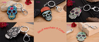 Wholesale Wholesaler Bags - Skull head with New KeyChain Pendant Purse Bag Car Key Chain ring New Fashion Lover Gift