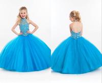 mavi ışıltılı kızlar elbiseli toptan satış-Köpüklü Işık Sky Blue Çiçek Kız Elbise Backless Halter Balo Tül Kabarık Pageant Çocuklar Elbise Kız Için Kişiselleştirilmiş Örgün Önlükler