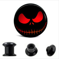 Wholesale Plug Double Flare - Skull UV Acrylic Universe Interstellar Ear Gauges Plugs And Tunnels Stretching Expander Screw Double Flared Saddle Fit Plug