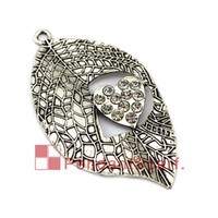 Wholesale Metal Leaf Charms - New Design Fashion Jewelry Pendant Scarf Accessories Rhinestone Heart Charm Metal Leaf Necklace Scarf Pendant, Free Shipping, AC0407