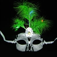 Wholesale Child Feather Costumes - Multi Color Beaming Princess Mask Peacock Feather Half Face PVC Mask Halloween Party Dancing Bauta Mask Cosplay Children Costume Decoration