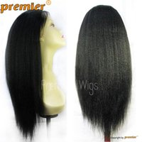 "Wholesale Long Half Head Wig - 100% Indian Remy Human Hair Front Lace Wig Kinky Straight 12""-24"" 1B# Full Head Lace Front Wigs For Black Women"