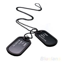 Wholesale Dogs Items - Military Army Style Black 2 Dog Tags Chain Mens Pendant Necklace Jewelry items 02IT