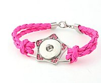Wholesale Cord Star Bracelets Wholesale - rose red cord lobster star alloy handmade with rhinestone noosa button snap button bracelet DIY personality bangle diy jelwery accessories