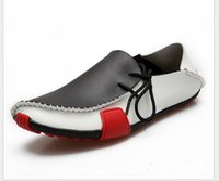 zapatos casuales de hombres de piel de vaca mocasín al por mayor-Zapatos casuales para hombre Mocasines de cuero de vaca Mocasines sin cordones Mocasines para hombre 2014 Pisos de cuero genuino