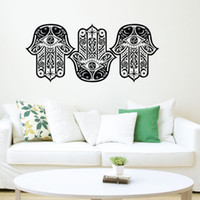 ingrosso stelle vinile adesivo a parete-Three OM Sign Hamsa Hands Wall Stickers Vinile Art Decalcomanie Fish Star Moon Pattern Murales Home Decor