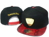 Wholesale Mitchell Ness Football Hats - nets mitchell and ness snapback hats black red snakeskin snapback team hats for men football basketball snapback hats metal logo DDMY