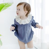 Wholesale Green Babies Organic Clothing - New 2017 Baby Girls jumpsuits Rompers Long Sleeve Doll Collar Cotton Kid Girl Romper Clothing one-piece green yellow blue A7776