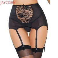 Wholesale Sexy Suspender Sets - Lingerie Sets Women Sexy Garter Belt Transparent Sheer Floral Lace Thong Set Suspender Exotic Briefs G-string Panties Lady Apr15