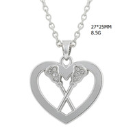 Wholesale Clear Rhinestone Necklaces - fashion jewelry rhodium plated heart pendant clear crystal slide the paddles charm link chain necklace
